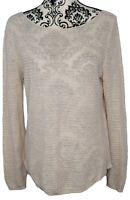 Tahari Women's Long Sleeve Boat Neck Tan Knit Pullover Sweater Top Size L