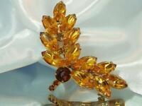 Wonderful Pronged Navette Orange Rhinestone Vintage 60's Brooch 97JL0