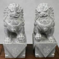 """Wächterlöwen Paar """"Fu-Hunde"""", Steinfiguren, Garten-Deko oder Innenbereich, grau"""