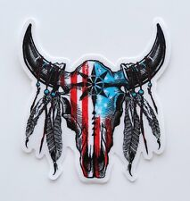 USA Flag Cow Skull Sticker Premium Quality Matte Waterproof Vinyl Stickers