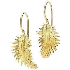 Feather Yellow Gold Plated Drop/Dangle Costume Earrings