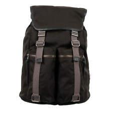 DOLCE & GABBANA Canvas Backpack Bag with PocketsBuckle Logo Black Khaki 08867