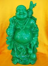 "18.5"" Jade Color Chinese Standing Money Buddha Statue"