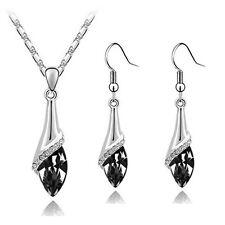 Elegant Silver Black Crystal Eye Jewellery Set Drop Earrings & Necklace S807