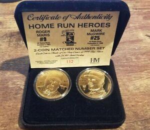 McGwire Maris Highland Mint Home Run Heroes 2 coin set. 24K GP .999 w/COA 1/250