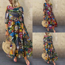 US STOCK Women Kaftan Casual Summer Beach Casual Long Shirt Dress Sundress S-5XL
