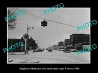 OLD LARGE HISTORIC PHOTO OF KINGFISHER OKLAHOMA, THE MAIN STREET & STORES c1960