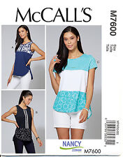 MCCALL'S SEWING PATTERN 7600 WOMENS SZ 18W-24W PULLOVER TOPS W/ FABRIC CONTRASTS