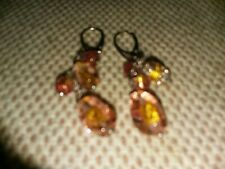 925 Sterling Silver European Murano Glass Beads Dangle Earrings Used