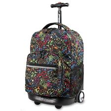 18 in Doodle Design Kids Rolling Backpack Travel Luggage School Bag Trolley NEW