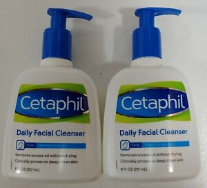 Lot Of 2 NEW! 8 oz- Cetaphil Daily Facial Cleanser - Normal to Oily Skin 8 oz Ea