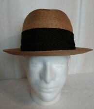 Vintage Dobbs Fifth Avenue Straw Hat 7 1/8 Black & Brown Striped Band Milan