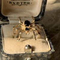Spider Ring 9ct Yellow Gold set with Sapphires, Vintage 1980's, UK