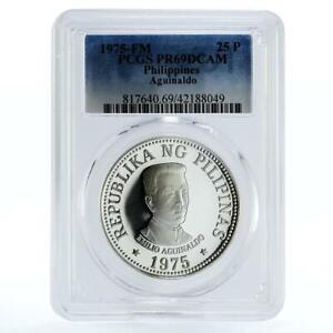 Philippines 25 pisos 1st President Emilio Aquinaldo PR69 PCGS silver coin 1975