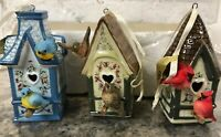 Vintage The Bradford Editions Home Is Where The Heart Is 3 Bird House Ornaments