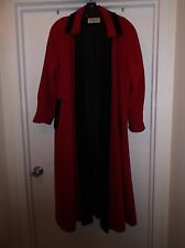 Vtg 80 SWING Preston & York OPEN FRONT Wool VELVET TRIM Opera Jacket COAT M L