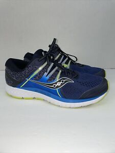 MENS SAUCONY EVERUN OMNI ISO BLUE BLACK WHITE GREEN RUNNING SHOES SIZE 11W