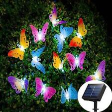 12led Solar Powered String Fairy Lights Butterfly Garden Outdoor Halloween Party