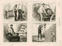 1873 - Antique Print INDUSTRY Electric Telegraph Cable Core Jute Tar   (091)
