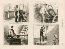1873-antica stampa INDUSTRIA TELEGRAFO Elettrico Cavo Core CATRAME di iuta (091)