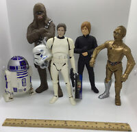 Lot Of 5 Vinyl Star Wars Figures Hans Solo, Chewbacca, R2D2, C3PO, Jedi Luke