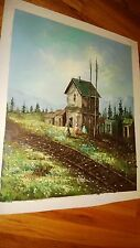 Original Impressionist Oil painting on Canvas Signed ,Unstretched Train Station