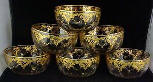 Six Josephinenhutte Gold Encrusted Antique Crystal Finger Bowls Paneled