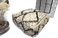 Beni Ourain Wedding Blanket Handira Floor Pillow Sequins Moroccan Ottoman Pouf
