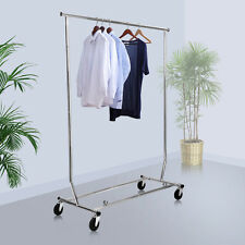 Heavy Duty Commercial Clothing Garment Rolling Collapsible Rack Chrome New