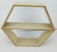 1 Wooden Box Hexagon Shaped Shelf Box Stands, Honeycomb Shaped Shelves Container