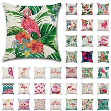 "UK Flamingo Tropical Plant Cushion Cover Linen Throw Pillow Case Home Decor 18"""