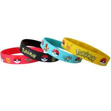 POKEMON RUBBER BRACELET SET (4pc) ~ Birthday Party Supplies Favors Pikachu Nerd