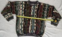 COOGI Sweater Vtg 90s XL Multi Color Neutral Retro Hip Hop Authentic Australia