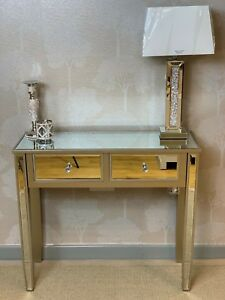 Georgia Champagne Gold Trim Mirrored Glass 2 Drawer Console Hall Dressing Table