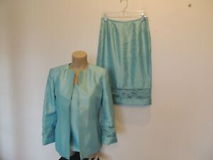 Kasper 3 piece size 6 light teal green jacket, top & skirt suit Spring