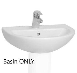 Vitra Milton 570mm Washbasin 2 Tap Hole White Art 4313L003-0022