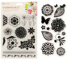 2 Sets Clear Stamps - Striking Flowers, Borders, Graphic, Stylised, Bold Flower