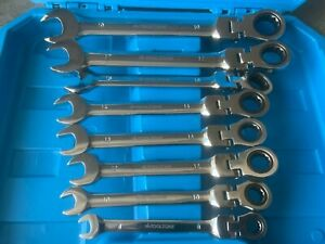 Ratchet Ring Spanner Wrench Set 8pc Metric Flexible 8mm to 19mm TZ SP128