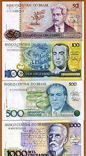 SET Brazil, 50;100;500;1000 cruzados, ND (1986-1988), P-210-211-212-213 UNC