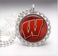 Wisconsin Badgers Silver Bottle Cap Pendant Necklace