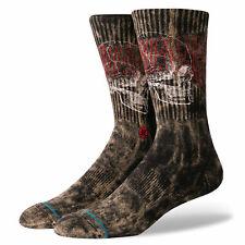 STANCE Savage Skull Crew Socks sz L Large (9-12) Black Tan Red Skeleton