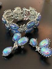 Authentic Vintage Coro Pegasus Silver Gems Bracelet & Earring Set - Collectors!
