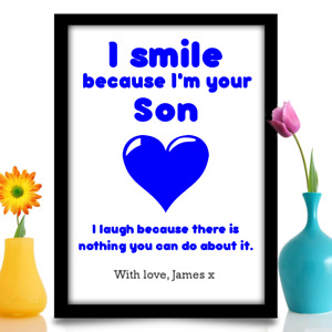 Mum or Dad gift from son Personalised Birthday Fathers day A4 gloss print