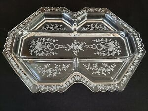 Fostoria Corsage Crystal Etched 5 Part Relish Dish Tray Divided