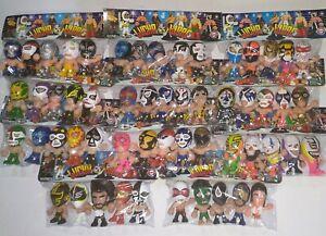 "Wrestling 3"" figures lot of 55, Lucha Libre Luchadores Cabezones, complete set"