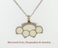 Large Silver & White Paw Print Cremation Jewelry Keepsake Urn - Dog, Cat, Pet