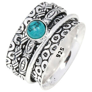 """Tibetian Turquoise Wide Band Spinner Medatation 925 Silver Jewelry Ring """"9"""""""
