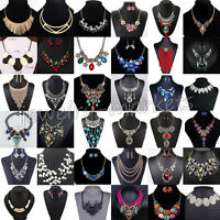 Women Fashion Pendant Alloy Crystal Choker Chunky Statement Chain Bib Necklace