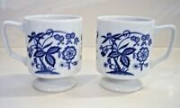 Vintage Japan Porcelain China Blue Onion Footed Coffee Cups set of 2