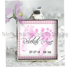 Custom New Baby Girl Feet Pendant Charm Key Chain Personalized Baby Keepsake V2